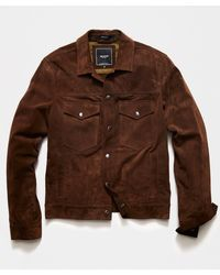 Todd Synder X Champion Italian Suede Snap Dylan Jacket - Brown