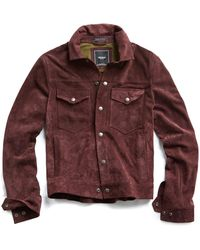 Todd Snyder - Italian Suede Snap Front Dylan Jacket In Burgundy - Lyst