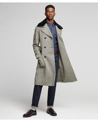 Todd Synder X Champion Double Breasted Herringbone Topcoat With Removable Shearling Collar - Black