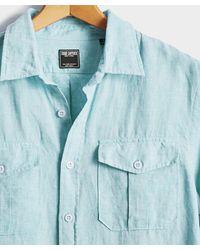 Todd Synder X Champion Italian Two Pocket Linen Utility Long Sleeve Shirt - Blue