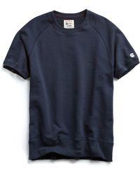 Todd Snyder - Short Sleeve Sweatshirt In Navy - Lyst