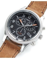 Timex Timex Allied Lt Chrono Brown Leather Black Dial 42mm