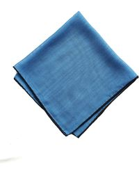 Drake's Blue Solid Wool And Silk Pocket Square With Shoestring Border