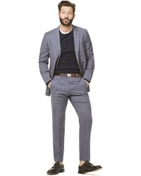 Todd Synder X Champion Navy And Grey Tropical Wool Plaid Sutton Suit Jacket - Blue