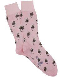 Corgi Monkeys Socks In Pink