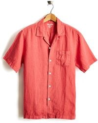 Todd Synder X Champion Short Sleeve Camp Collar Linen Shirt - Red