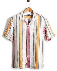 Todd Synder X Champion Short Sleeve Awning Stripe Camp Collar Button Down Shirt In Orange