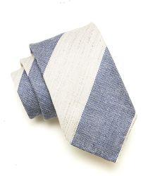 Drake's Bold Linen Stripe In Blue/grey - Gray