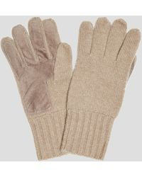 Dents Dents Cardiff Cashmere Knitted Gloves With Suede Palm Patch In Camel - Natural