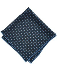 Drake's - Navy/blue Spot Printed Pocket Square - Lyst