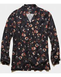 Todd Synder X Champion Italian Dark Floral Print Camp Collar Shirt In Black