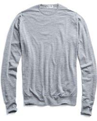 John Smedley - John Smedley Easy Fit Merino Crewneck Sweater In Silver - Lyst