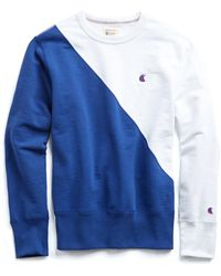 Todd Snyder - Champion Diagonal Colorblock Sweatshirt In White And Blue - Lyst