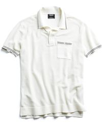 Todd Snyder - Tipped Cotton Silk Micro Mesh Tipped Polo In White - Lyst
