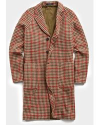 Todd Synder X Champion Italian Tweed Wool Raglan Windowpane Topcoat - Red