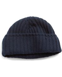 b6d22f62fe7 Drake S Cashmere Ribbed Beanie In Navy in Blue for Men - Lyst