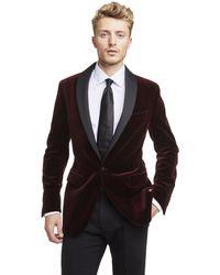 Todd Synder X Champion Made In Usa Velvet Shawl Collar Dinner Jacket In Burgundy - Multicolour
