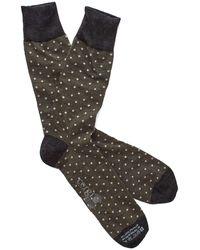 Corgi - Polka Dot Socks In Olive/white - Lyst