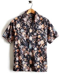 Todd Snyder Liberty Camp Collar Floral Print In Black