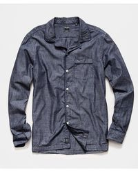 Todd Synder X Champion Japanese Tipped Chambray Camp Collar Shirt - Blue