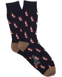 Corgi   Lightweight Wool Fox Sock In Navy   Lyst