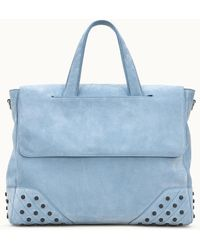 Tod's Shopping Bag Small In Suede - Blue
