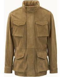 Tod's Field Jacket In Suede - Green