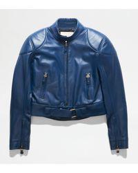 Tod's Bikerjacke aus Leder - Blau