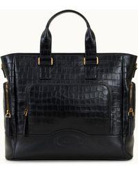 Tod's Mittelgroße Shopping Bag aus Leder - Schwarz