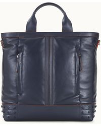 Tod's Tote Shopping Bag Medium In Leather - Blue