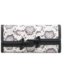 Tod's - Reptile And Leather Wallet - Lyst
