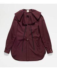 Tod's Blouse Mini Robe en Popeline - Violet