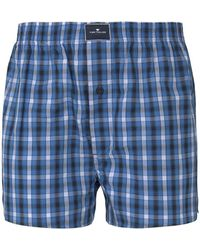 Tom Tailor Karierte Boxer-Shorts - Blau