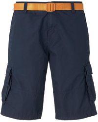 Tom Tailor DENIM Cargoshorts mit abnehmbarem Gürtel - Blau