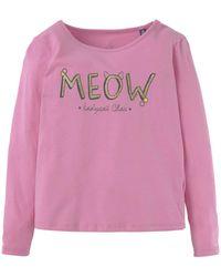 Tom Tailor Mädchen Langarmshirt mit Katzenmotiv - Pink