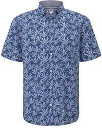 Tom Tailor Gemustertes Kurzarm-Hemd - Blau