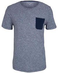 Tom Tailor DENIM Tshirt mit Brusttasche - Blau
