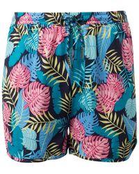 Tom Tailor Mädchen Shorts mit tropischem Print - Blau