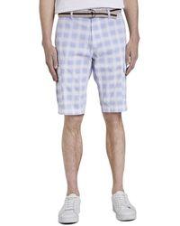 Tom Tailor Gemusterte Cargo-Shorts mit Gürtel - Blau