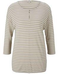 Tom Tailor Gestreiftes T-Shirt mit elastischem Saum - Natur