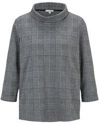 Tom Tailor Gemustertes Langarmshirt mit Stehkragen - Blau