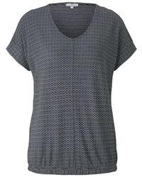 Tom Tailor Strukturiertes T-Shirt mit elastischem Bund - Schwarz