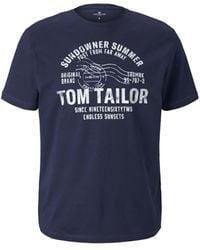 Tom Tailor Print T-Shirt - Blau