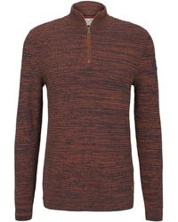 Tom Tailor DENIM Troyer Pullover in Melange Optik - Orange