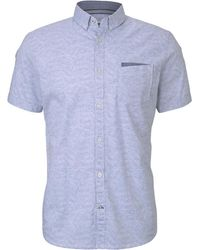 Tom Tailor Gemustertes Kurzarm-Hemd mit Brusttasche - Blau