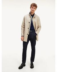 Tommy Hilfiger Stand-up Collar Trench Coat - Natural