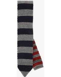 Tommy Hilfiger Pure Wool Reversible Stripe Tie - Gray