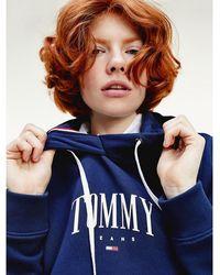 Tommy Hilfiger Essential Hoodie Van Biologisch Katoen Met Logo - Blauw