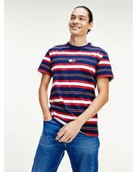 Tommy Hilfiger Katoenen T-shirt Met Streep - Blauw