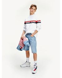 Tommy Hilfiger - Signature Print Relaxed Fit Denim Shorts - Lyst